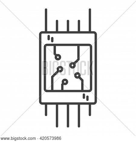 Microchip Icon. A Simple Line Drawing Of A General View Of Any Electronics Board. Brackets For Solde