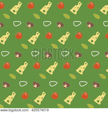 Ingredient Of Pizzas Pattern For Box Wrapping. Vector Backdrop Pizza, Mushroom And Cheese, Mozzarell