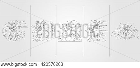 Set Bundled Of Astronaut Vector Line Art Illustration Template Design, Astronaut Baseball, Kitchen,