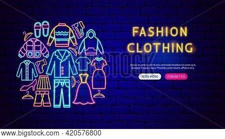 Fashion Clothing Neon Banner Design. Vector Illustration Of Clothes Promotion.