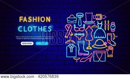 Fashion Clothes Neon Banner Design. Vector Illustration Of Clothing Promotion.