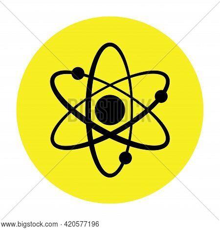 Atom Icon In Flat Design. Molecular Sign On Yellow Background. Atom Science Orbit Outline Symbol Vec