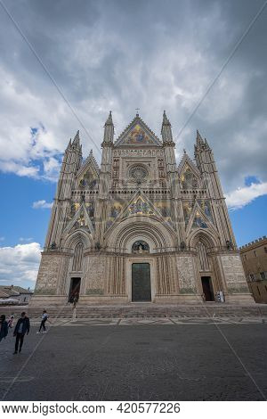 People In  Square Near Cathedral In Ancient City Of Orvieto Umbria, Italy