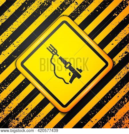 Black Fishing Harpoon Icon Isolated On Yellow Background. Fishery Manufacturers For Catching Fish Un