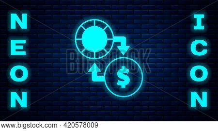 Glowing Neon Casino Chips Exchange On Stacks Of Dollars Icon Isolated On Brick Wall Background. Vect