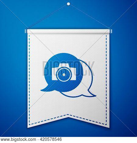 Blue Photo Camera Icon Isolated On Blue Background. Foto Camera. Digital Photography. White Pennant