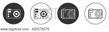Black Photo Camera Icon Isolated On White Background. Foto Camera. Digital Photography. Circle Butto
