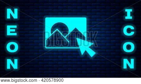 Glowing Neon Photo Retouching Icon Isolated On Brick Wall Background. Photographer, Photography, Ret