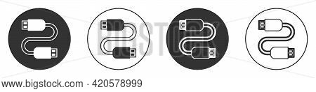 Black Usb Cable Cord Icon Isolated On White Background. Connectors And Sockets For Pc And Mobile Dev