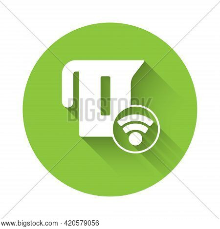 White Smart Electric Kettle System Icon Isolated With Long Shadow. Teapot Icon. Internet Of Things C