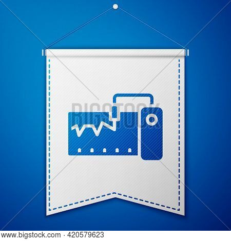 Blue Electrical Measuring Instrument Icon Isolated On Blue Background. Analog Devices. Measuring Dev