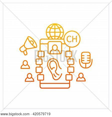 Listeners Gradient Icon. Listening Lecture. Hearing Voice Messages. Abstract Communication Room With