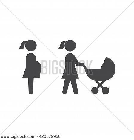 Pregnant Woman And Mother With Pram Or Stroller. Black Vector Icon Set.