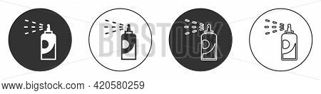Black Spray Can For Hairspray, Deodorant, Antiperspirant Icon Isolated On White Background. Circle B