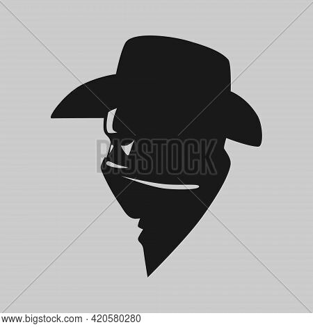 Cowboy Masked Outlaw Symbol Side View On Gray Backdrop. Design Element