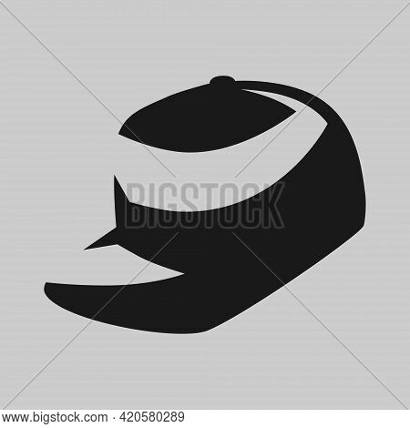 Snapback Cap Symbol On Gray Backdrop. Design Element