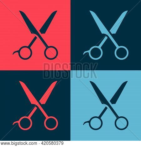 Pop Art Scissors Hairdresser Icon Isolated On Color Background. Hairdresser, Fashion Salon And Barbe