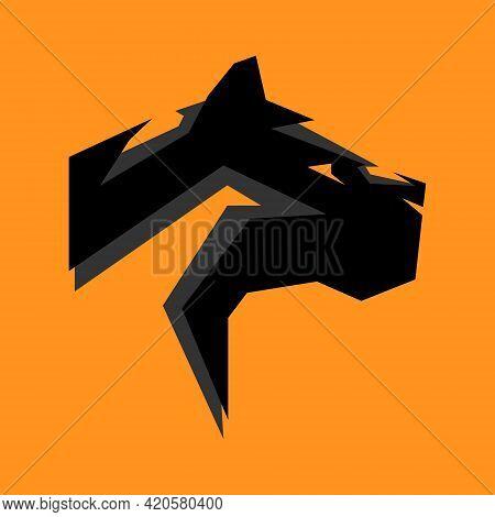 Abstract Black Panther Head Portrait Side View Symbol On Orange Backdrop. Design Element