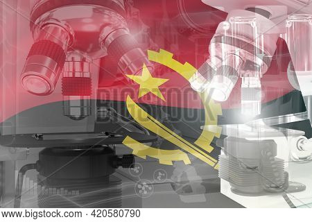 Angola Science Development Conceptual Background - Microscope On Flag. Research In Biotechnology Or