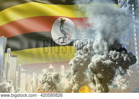 Large Smoke Column With Fire In Abstract City - Concept Of Industrial Disaster Or Terrorist Act On U