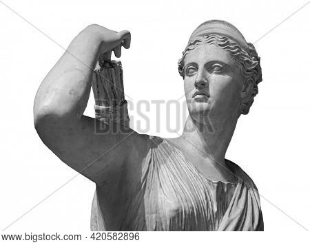 Classic white marble statuette Diana of Versailles isolated on white background. Scilpture of huntress