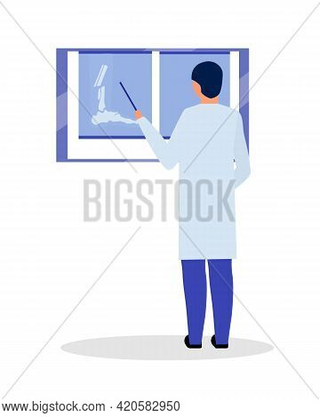 Reviewing Patient X-ray Pictures Flat Color Vector Faceless Character. Gathering Information About P