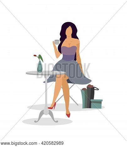 Relax In Cafe After Shopping Flat Color Vector Faceless Character. Restaurant Terrace. Carefree Life