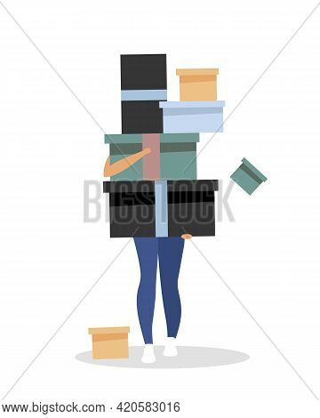 Shopaholism Flat Color Vector Faceless Character. Enjoying Shopping. Girl With Boxes. Obsession With
