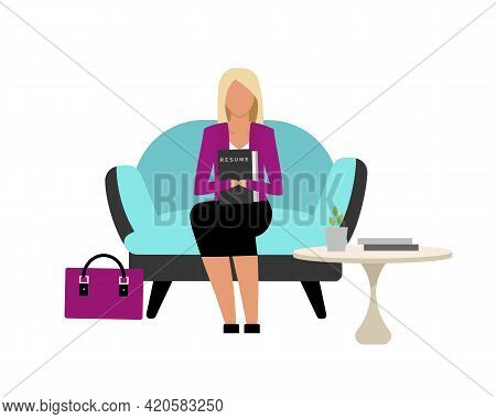 Girl Waiting Turn For Job Interview Flat Color Vector Faceless Character. Going To Interview With Re