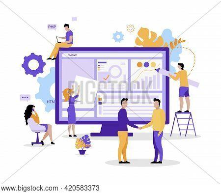 Web Development Team Flat Concept Vector Illustration. Designers, Project Managers 2d Cartoon Charac