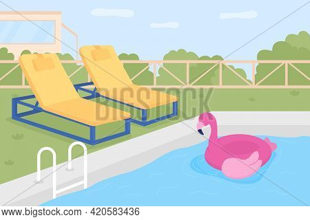 Home Swimming Pool Flat Color Vector Illustration. Water Playground. Inflatable Pool Float For Child