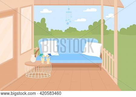 Backyard Terrace Flat Color Vector Illustration. Private Oasis For Warm Summer Days. Comfortable Are