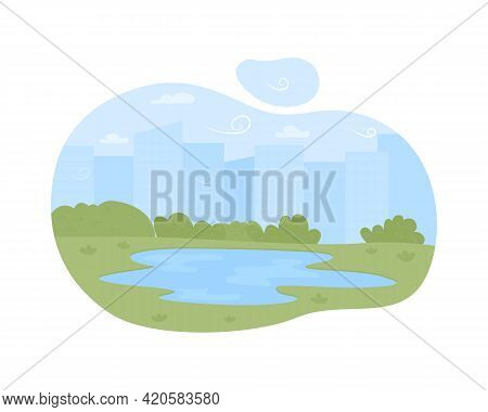 Lake On Plains 2d Vector Web Banner, Poster. Summer Camping And Retreat Flat Object On Cartoon Backg