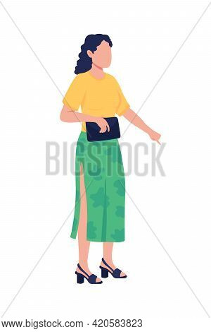Summer Outfit Combination Flat Color Vector Faceless Character. Spring Wear. Weekend Getaway. Summer