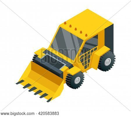 Construction Machinery Isometric. Heavy Transportation. Icon Representing Heavy Mining And Road Indu