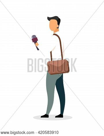Journalist Flat Color Vector Faceless Character. Conducting Interview. Media Reporting. Reportage. M