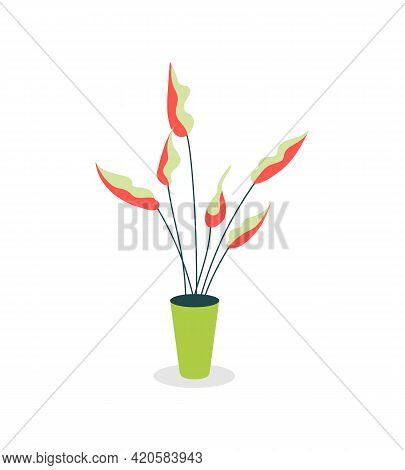 Indoor Plant Flat Color Vector Object. Interior Design. Workspace Decoration. Greenery Indoors. Grow