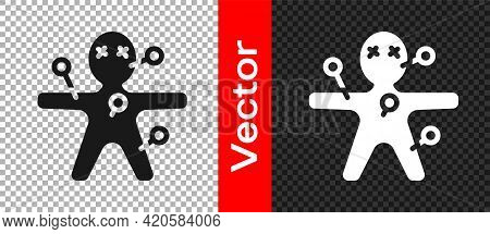 Black Voodoo Doll Icon Isolated On Transparent Background. Happy Halloween Party. Vector