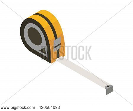Ruller Isometric Hand Tool. Detailed Icon Of Tool For Handyman Repair. Vector Equipment Of Builder I