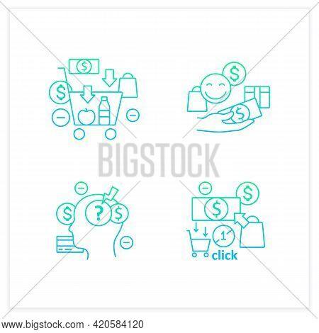 Mindful Spendings Gradient Icons Set. Conscious Consumption, Shopaholism, Sales, Green Thinking.buyi