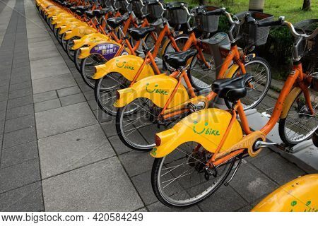 New Taipei city, Taiwan - Jum 14th, 2020: Ubike, a bike sharing system service used by citizens as short-distance transit vehicles at street in New Taipei city, Taiwan