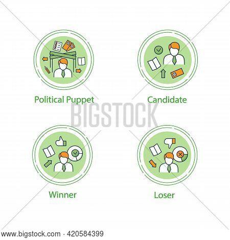 Election Concept Line Icons Set.loser, Winner, Candidate, Political Puppet. Choice, Vote Concept. De