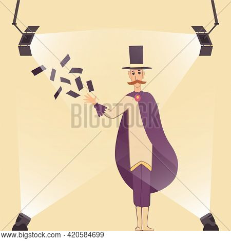 Television Show. Illusionist Shows Tricks With Playing Cards And With Cylinder. Mustachioed Magician