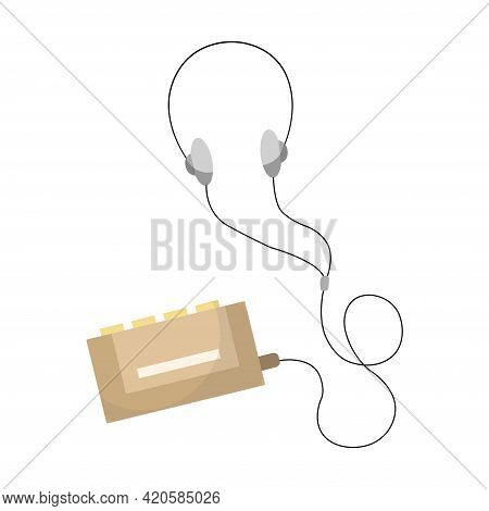 Vintage Music Object. Old Cassette Music Player With Wired Headphones. Color Symbol Design. Vector I