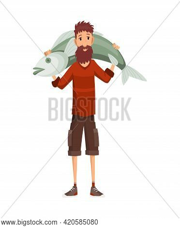 Fisherman Fishing With Fish. Fishing Man Holds A Caught Large Fish On His Shoulders. Vacation Concep