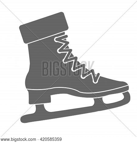 Figure Skating Skates. Silhouette Of Sports Equipment. Flat Style.