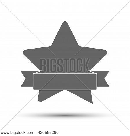 Silhouette Of A Five-pointed Star With A Ribbon. Vector Illustration For Scrapbooking And Creative D