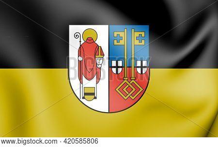 3d Flag Of Krefeld (north Rhine-westphalia), Germany. 3d Illustration.
