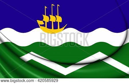 3d Flag Of Midden-delfland (south Holland Province), Netherlands. 3d Illustration.
