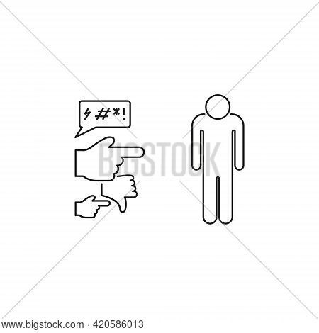 Social Bullying Line Icon. Harassment, Social Abuse And Domestic Violence Pictogram. Group Bullying